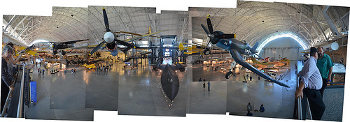 Steven F. Udvar-Hazy Center: Photomontage of primary entrance view, like P-40 Warhawk & F-4 Corsair up front, SR-71 Background beneath in the close to distance, and the Space Shuttle Enterprise beyond